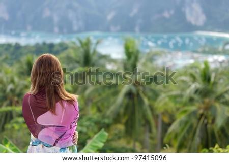 woman watching ko phi phi island landscape, thailand - stock photo