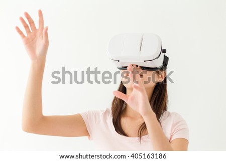 Woman watching though vr device