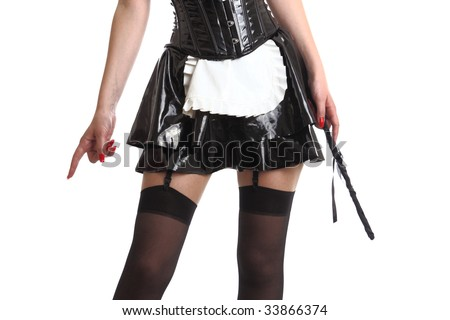 Woman wearing a French Maid outfit dominate! (dominatrix concept), isolated on white background - stock photo