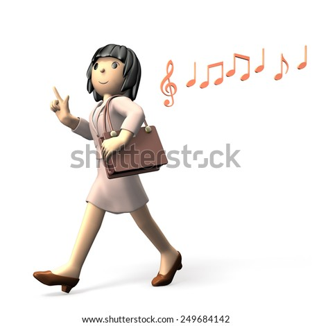 Woman wearing a suit. She walks merrily. - stock photo