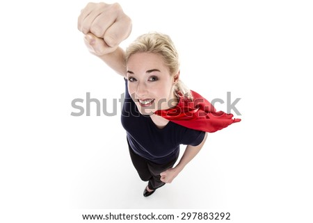 woman wearing a super hero cape shot from above looking down - stock photo