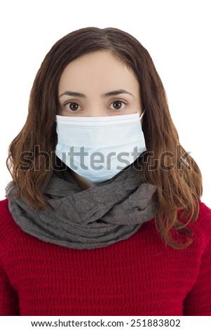 Woman wearing a virus mask - stock photo