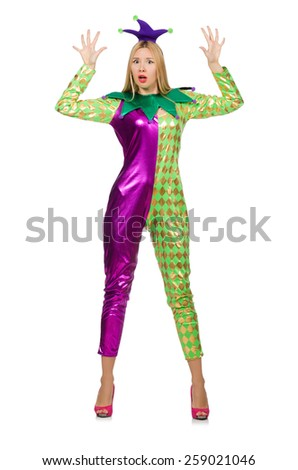 Woman wearing clown costume isolated on white - stock photo