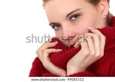 Woman wearing comfortable winter jumper - stock photo