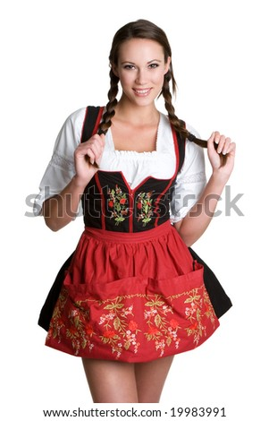 Woman Wearing German Dirndl - stock photo