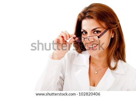 Woman wearing glasses - isolated over a white background - stock photo