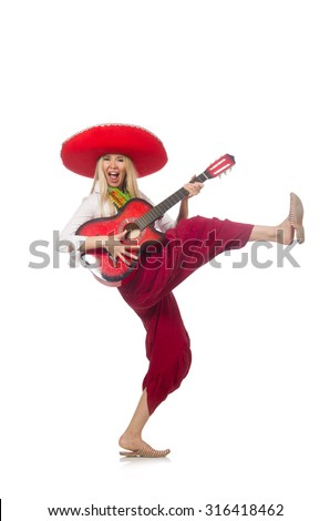 Woman wearing guitar with sombrero - stock photo