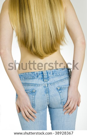 woman wearing jeans - stock photo