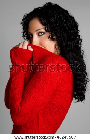 Woman Wearing Red Sweater