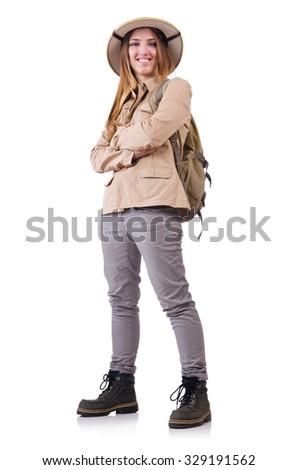 Woman wearing safari hat on white - stock photo