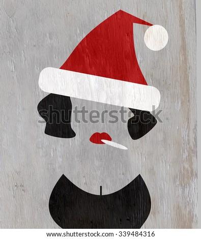 woman wearing santa hat and smoking on wood grain texture - stock photo