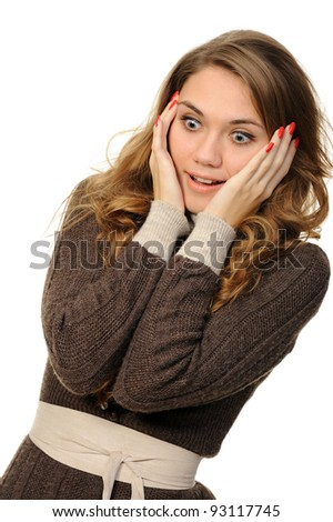 woman whispering gossip  on a white background - stock photo