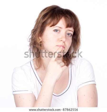 woman, white background, emotions