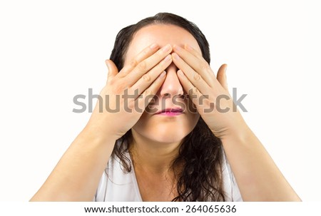 woman who does not want to see what happens in your environment with white background - stock photo