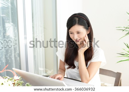 Woman who enjoy the personal computer