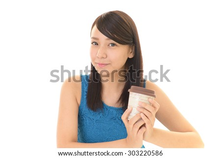 Woman who enjoys the coffee break