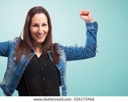 woman winning gesture - stock photo