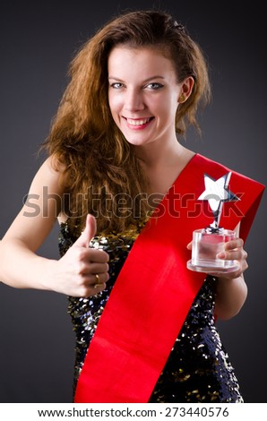 Woman winning the beauty contest - stock photo