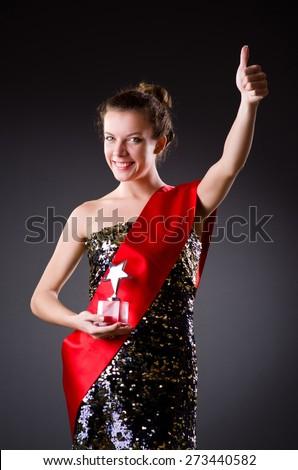 Woman winning the beauty contest - stock photo