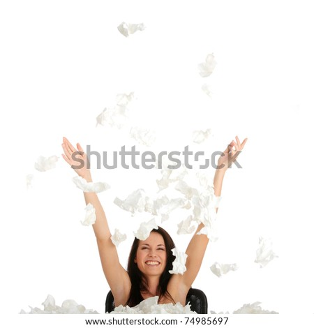 Woman winning with sickness - throwing tissues with big smile - stock photo