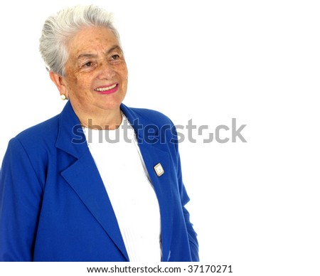 Woman with a big smile over white background. - stock photo