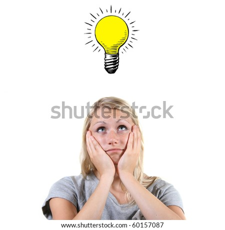 woman with a bright idea, light bulb above her head