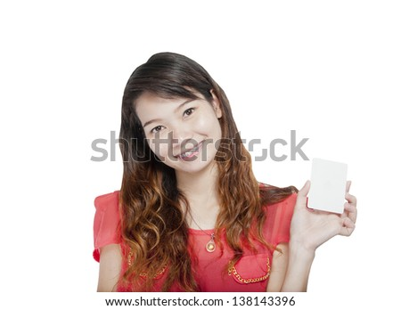 Woman with a card. Isolated on white background. - stock photo