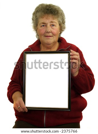 Woman with a cetificate for you to fill - stock photo