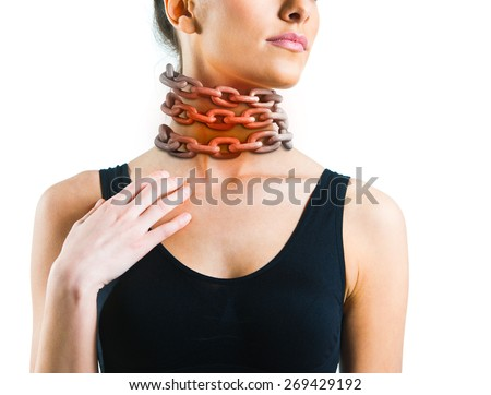 Woman with a chain around her neck - stock photo