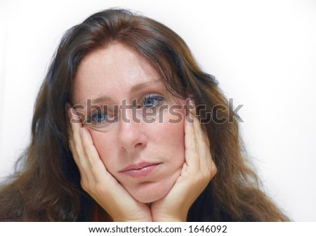 woman with a depression - stock photo