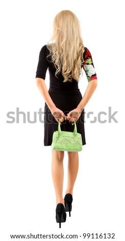woman with a green handbag - stock photo