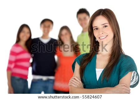 Woman with a group of people behind - isolated over a white background