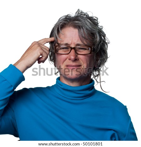 Woman with a headache puts her finger where it hurts