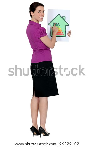 Woman with a house energy rating sign - stock photo