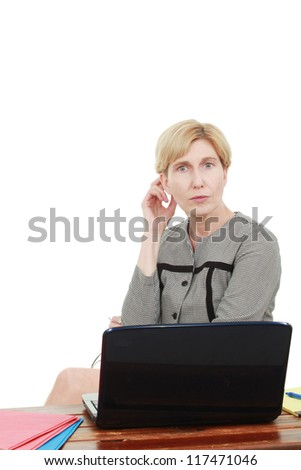 Woman with a laptop. - stock photo