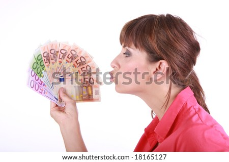 Woman with a lot of euro money - stock photo