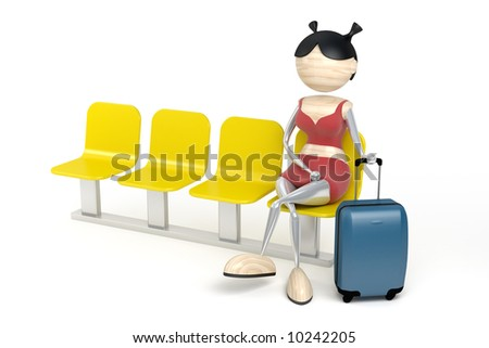 Woman with a luggage in a waiting room - stock photo