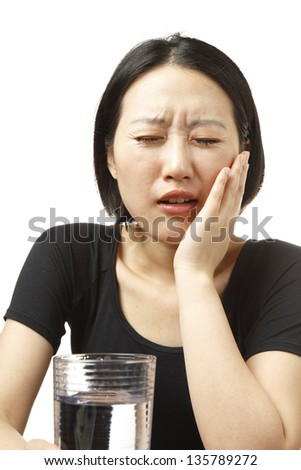 Woman with a painful tooth
