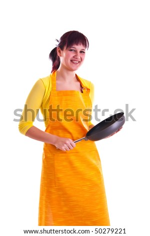 woman with a pan - stock photo