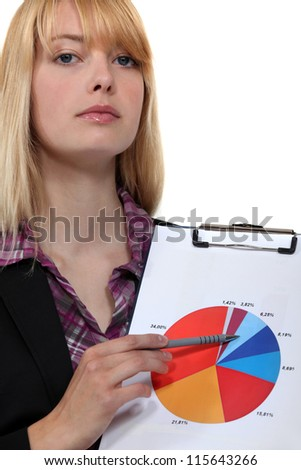 Woman with a pie chart - stock photo
