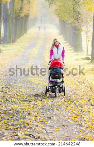 woman with a pram on walk in autumnal alley - stock photo