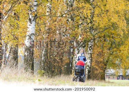 woman with a pram on walk in autumnal nature - stock photo