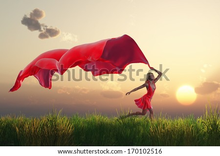 woman with a red tissue on green field - stock photo