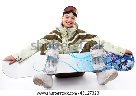 woman with a snowboard isolated on white - stock photo