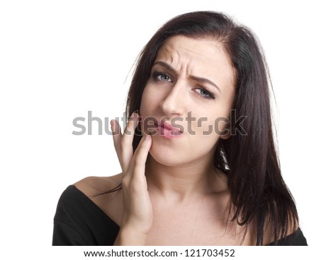 woman with a toothache - stock photo