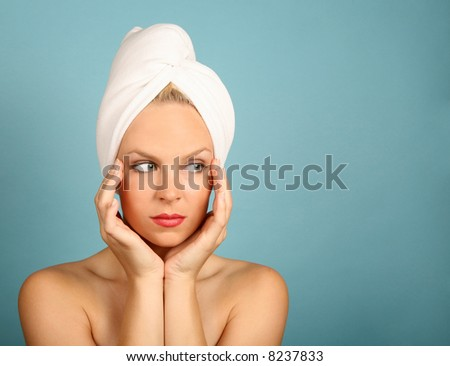 Woman With a Towel on Hair Awaiting Spa Treatment - stock photo