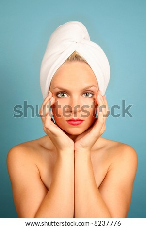 Woman With a Towel on Hair in a Spa Facility - stock photo