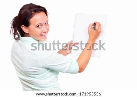 Woman with a writing pad - stock photo