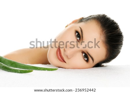 woman with aloe vera - stock photo