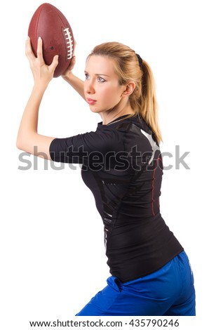 Woman with american football isolated on white - stock photo
